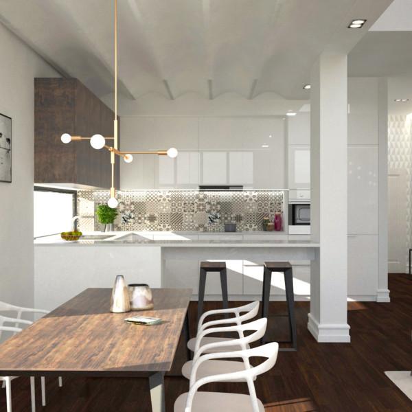 Projekt wnętrza salonu w domu jednorodzinnym